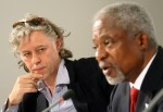 GERMANY-AFRICA-APP-POVERTY-ANNAN-GELDOF