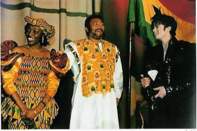 Jerry Rawlings and his spouse receiving a special recognition award  presented by Michael Jackson in Los Angeles, 1995.