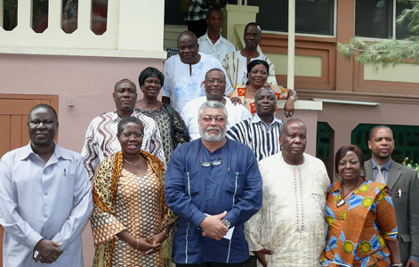 Former President Rawlings with the delegation in a group photograph shortly after the meeting.