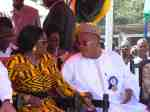 Nana Konadu conferring with Mr Samuel Sallas Mensah