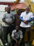 President Rawlings with crew