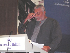 Former President Rawlings delivering the keynote speech