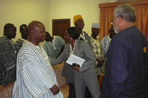 President Rawlings and Nana Konadu interacting with the Chiana delegation