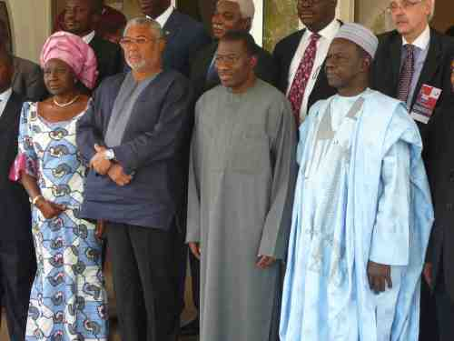 President Rawlings and President Jonathan pose for the cameras when the two met in March