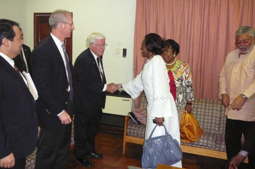 Nana Konadu welcomes Congressman Henry Brown to the meeting