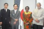President and Mrs Rawlings pose with Ambassador Mochizuki and Yuki Tamura also of the Japan Embassy
