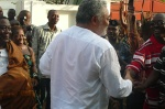 President Rawlings took time off for enthusiastic admirers before departing Anlo