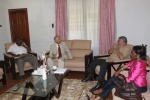 The Libyan Ambassador explains a point to President Rawlings, Nana Konadu and General Quainoo
