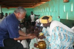 President Rawlings receives the traditional kola from the Regent of Savelugu at the Gukpe Naa's Palace