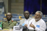 President Rawlings addressing the Security Council delegation.