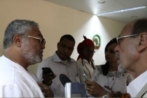 President Rawlings speaks to the media after his address