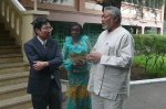 President Rawlings explains a point to Ambassador Nikai after the meeting. Looking on is Nana Konadu Agyeman-Rawlings