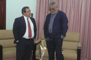 President Rawlings with the USA Ambassador, Donald Teitelbaum