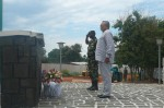 President Rawlings pays his respects after laying a wreath at the Tomb of the Unknown in Bujumbura