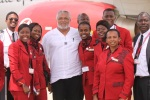 Crew of Kenya Airways are all bubbly in this pose with President Rawlings after one of their flights to Accra