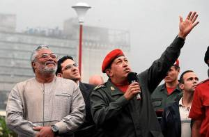 Presidents Rawlings and Hugo Chavez in Caracas during President Rawlings' 2010 visit