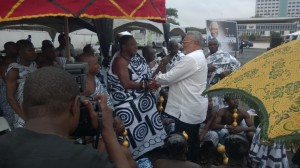 President Rawlings in a warm handshake with the Akyempimhene Nana Adusei Poku who represented the Asantehene Otumfuo Osei Tutu II