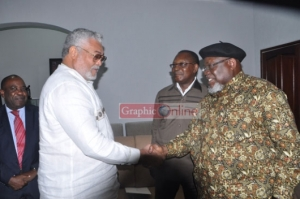 PRESIDENT RAWLINGS WELCOMES CHIEF IKIMI