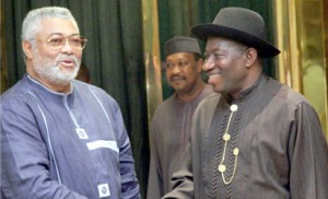 Library photo-President Rawlings and Nigerian Former President Goodluck Jonathan
