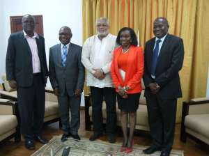 President and Mrs Rawlings pose with the UEW delegation