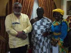 Otumfuo Osei Tutu II in a memorable one with the Rawlingses