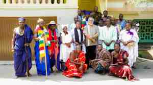 President Rawlings in a group picture with the leadership of the Afrikania Mission