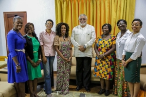 President Rawlings with the Wesley Girls 1995 delegation