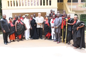 President Rawlings in a group photograph with the Ejura delegation